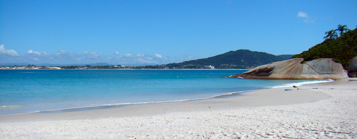 Getting some sun on the Florianopolis beach in Brazil