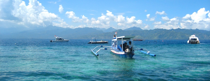 Tropical paradise on Gili Island in indonesia