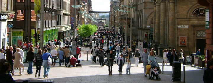 Spending time on the bustling streets of Glasgow, scotland