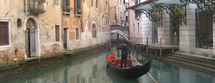 A gondola ride through the canals of Venice, Italy