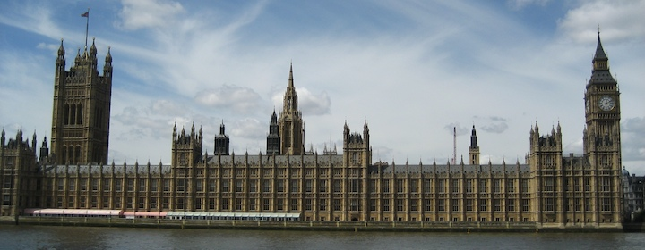 Parliament building in London England on a sunny day