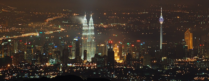 night time city view of Kaula Lumpur in Malaysia