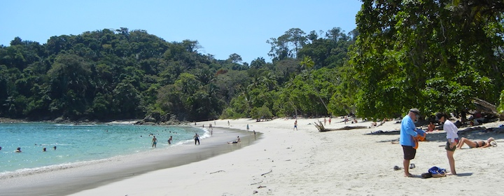 Going through the beautiful beach town of Manuel Antonio in Costa Rica
