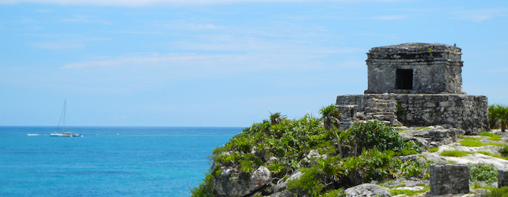 The Mayan ruins in Tulum, Mexico on a sunny day