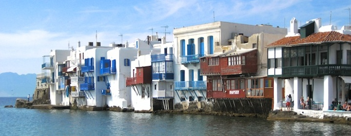 Checking out little venice while traveling on the Greek island of Mykonos