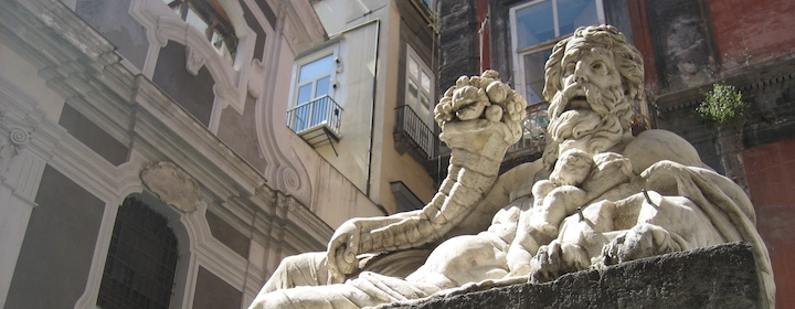 An ancient Roman statue in Naples, Italy