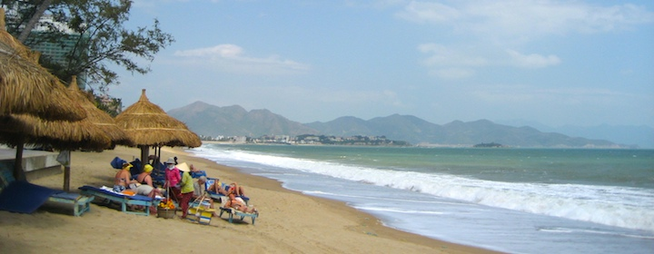 spending time on the beautiful beach in nah trang, vietnam