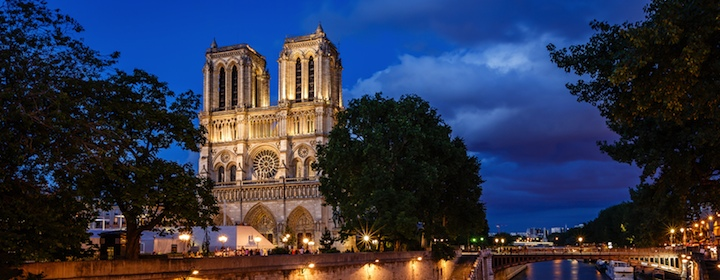 Notre Dame cathedral in Paris, France at night time