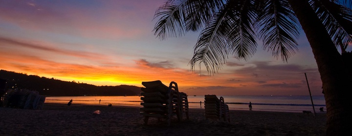 Catching a sunset in phuket thailand