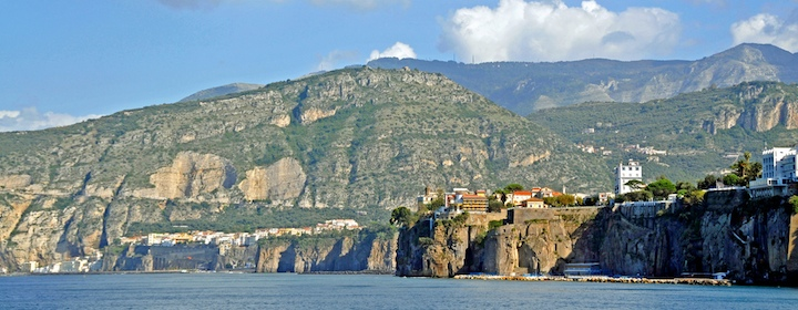The beautiful and sheer coastline of Sorrento, Italy