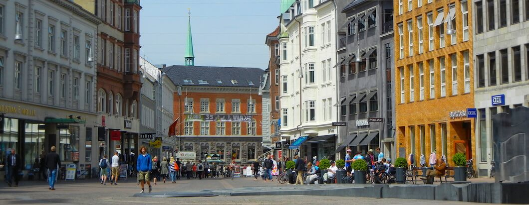 Strolling through downtown Aarhus in Denmark