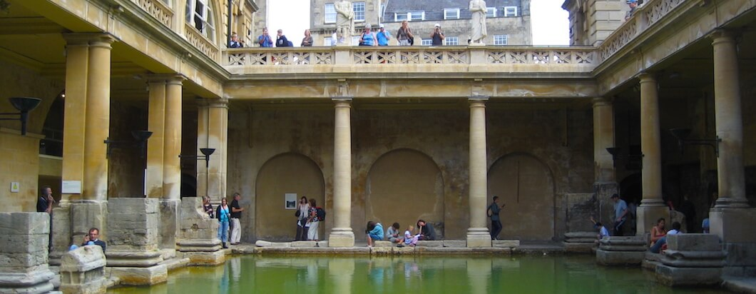 Exploring the old roman baths in Bath, England