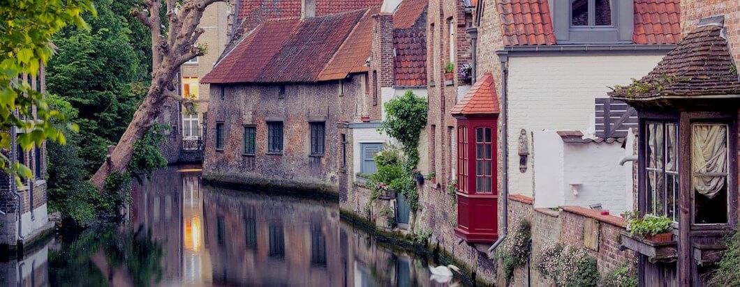 Strolling through romantic city of Bruges in Belgium