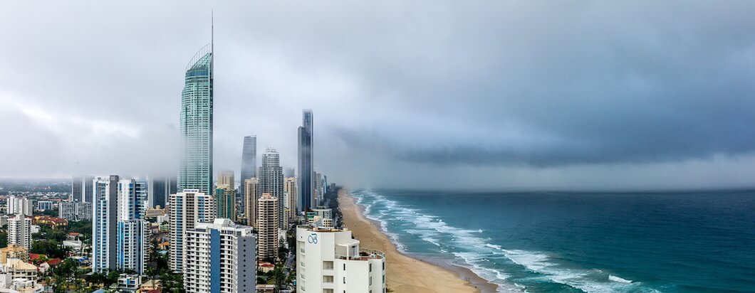The skyline of Surfer's Paradise, Australia on a beautiful day