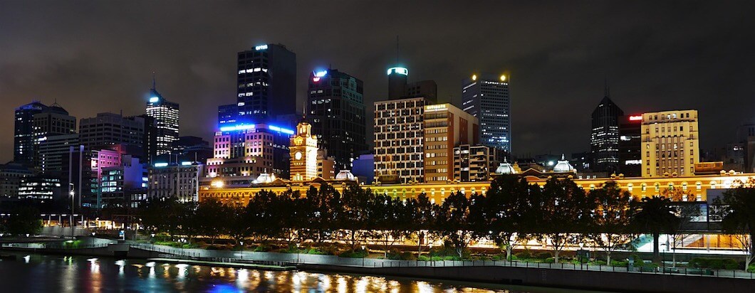 Melbourne, Australia's downtown river front and old train station
