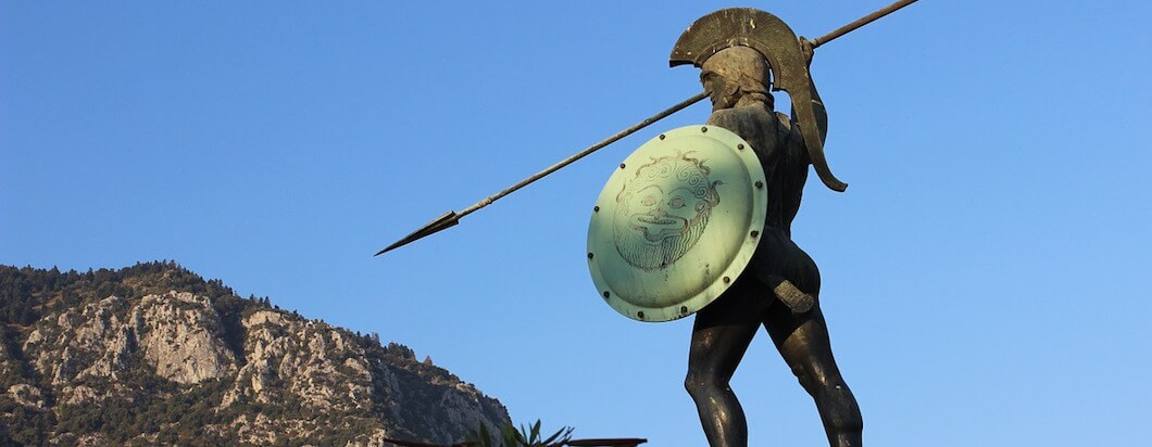 Walking throgh the ancient warrior capital of sparta in Greece