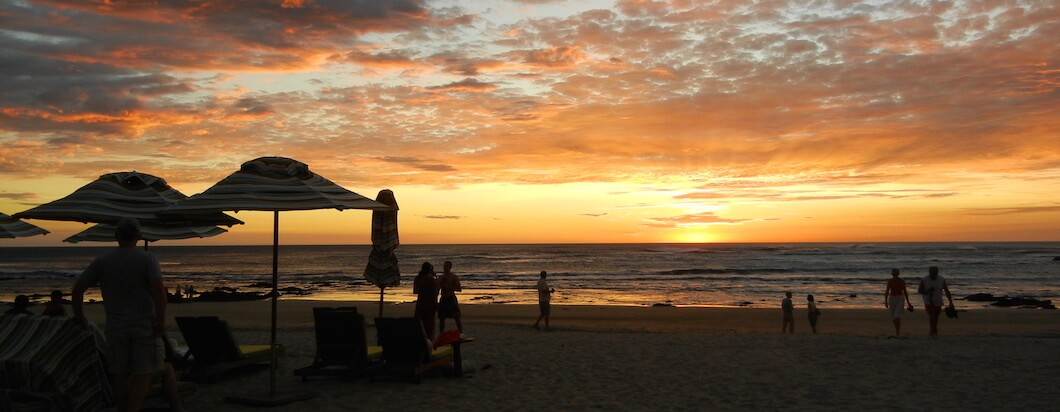 Sunset over the beach in Tamarindo, Costa Rica