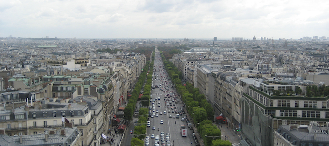 A look down the Champs Elysees from the from the Arc de Triomphe, Paris