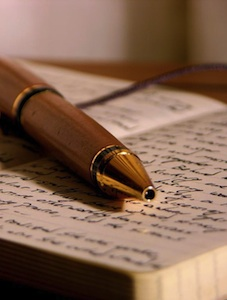 Ink pen and journal for writing