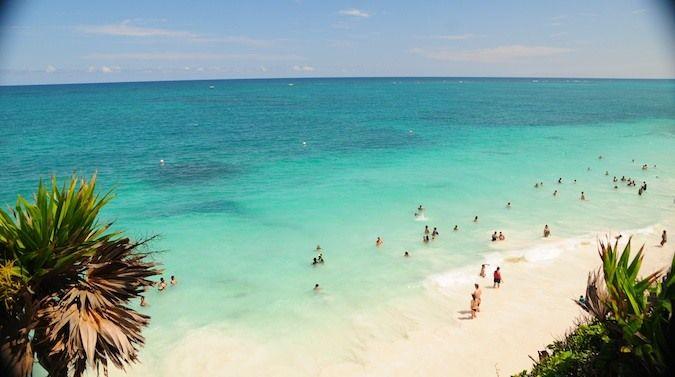 The beach where everyone goes swimming