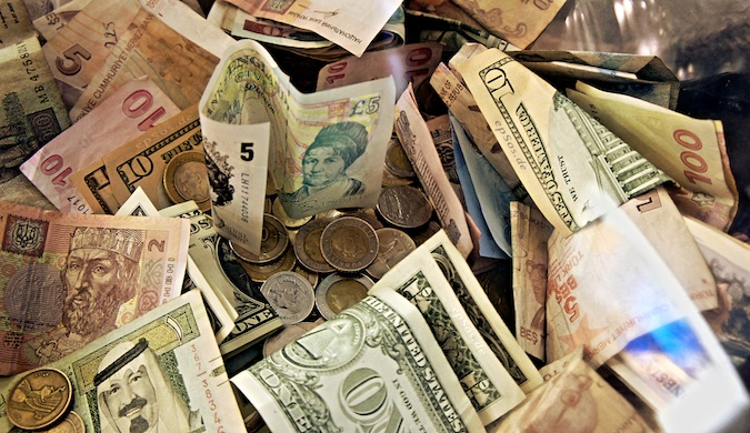 Money and foreign currency from all over the world