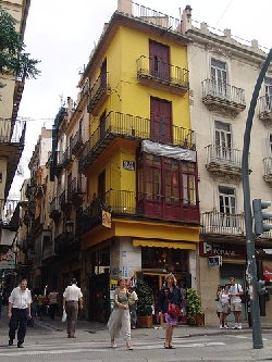 The corner of a street in Valencia, Spain