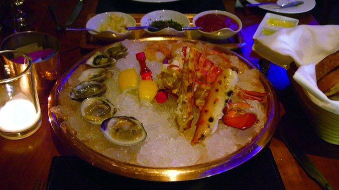 A circular seafood platter at American Fish, a great restaurants