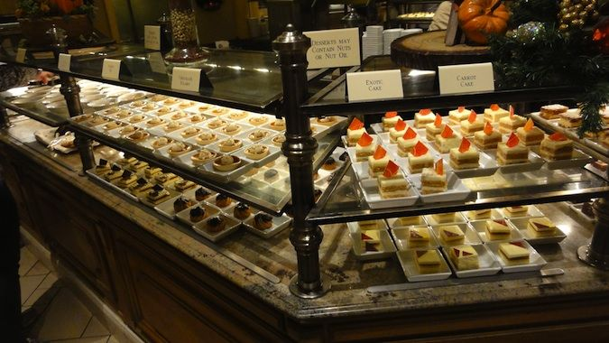 Many different desserts on display at the Bellagio Buffet