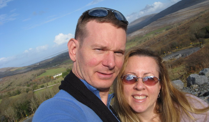 Wandering Why couple smiling while traveling abroad