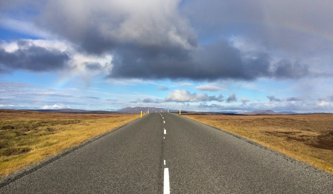 a long road in iceland