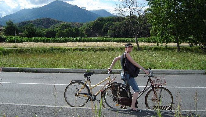 Sophie McGovern biking around with WWOOF