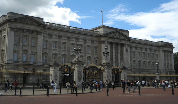 The whole facade of Buckingham palace in London