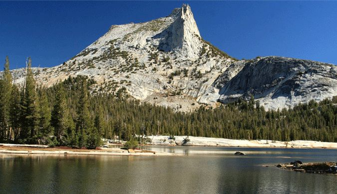 The Cathedral Lakes with a gorgeous white mountain at Yosemite