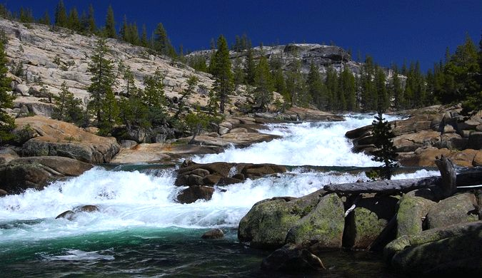 The rapids gush at Glen Aulin in Tuolumne Meadows