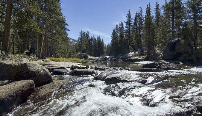 Gushing water flows at Ireland Lake in Tuolumne Meadows, Yosemite