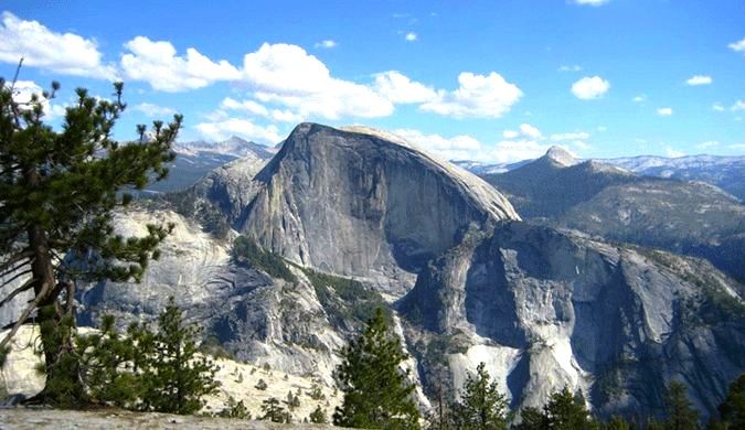 The North Dome in Yosemite looks spectacular on a clear day