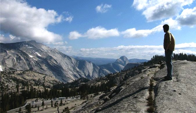 Olmstead Point has a great view of the valleys around Tuolumne Meadows