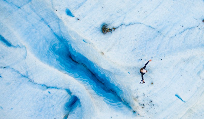 A drone shot of Kristin Addis standing on the Exploradores Glacier in Patagonia