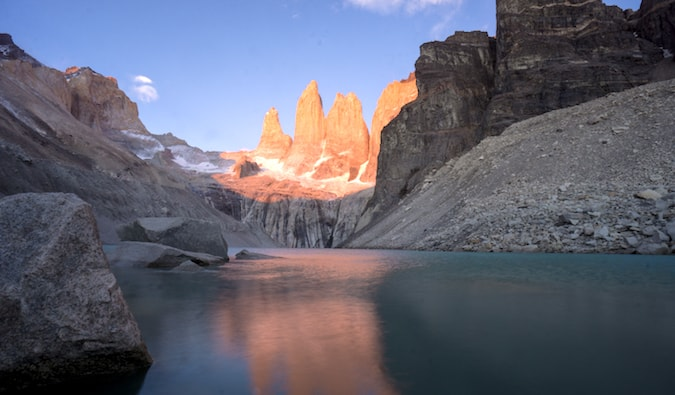The Torres mountains in Torres del Paine National Park in Patagonia