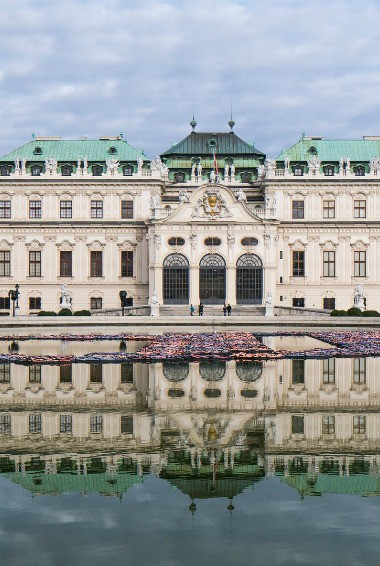 The Belvedere in Vienna taken from across the palace gardens