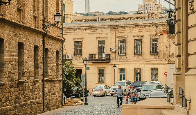 locals out for a walk in Baku, Azerbaijan