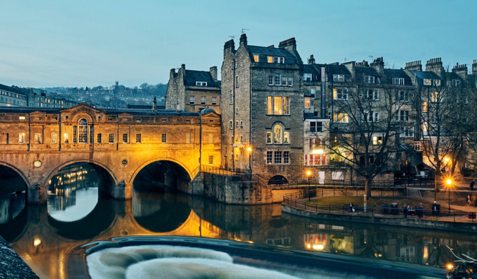 The waterfront in Bath, England at night