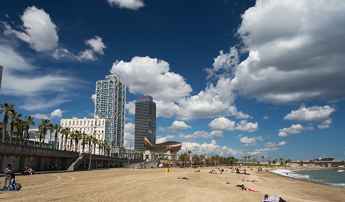 the beach in Barcelona