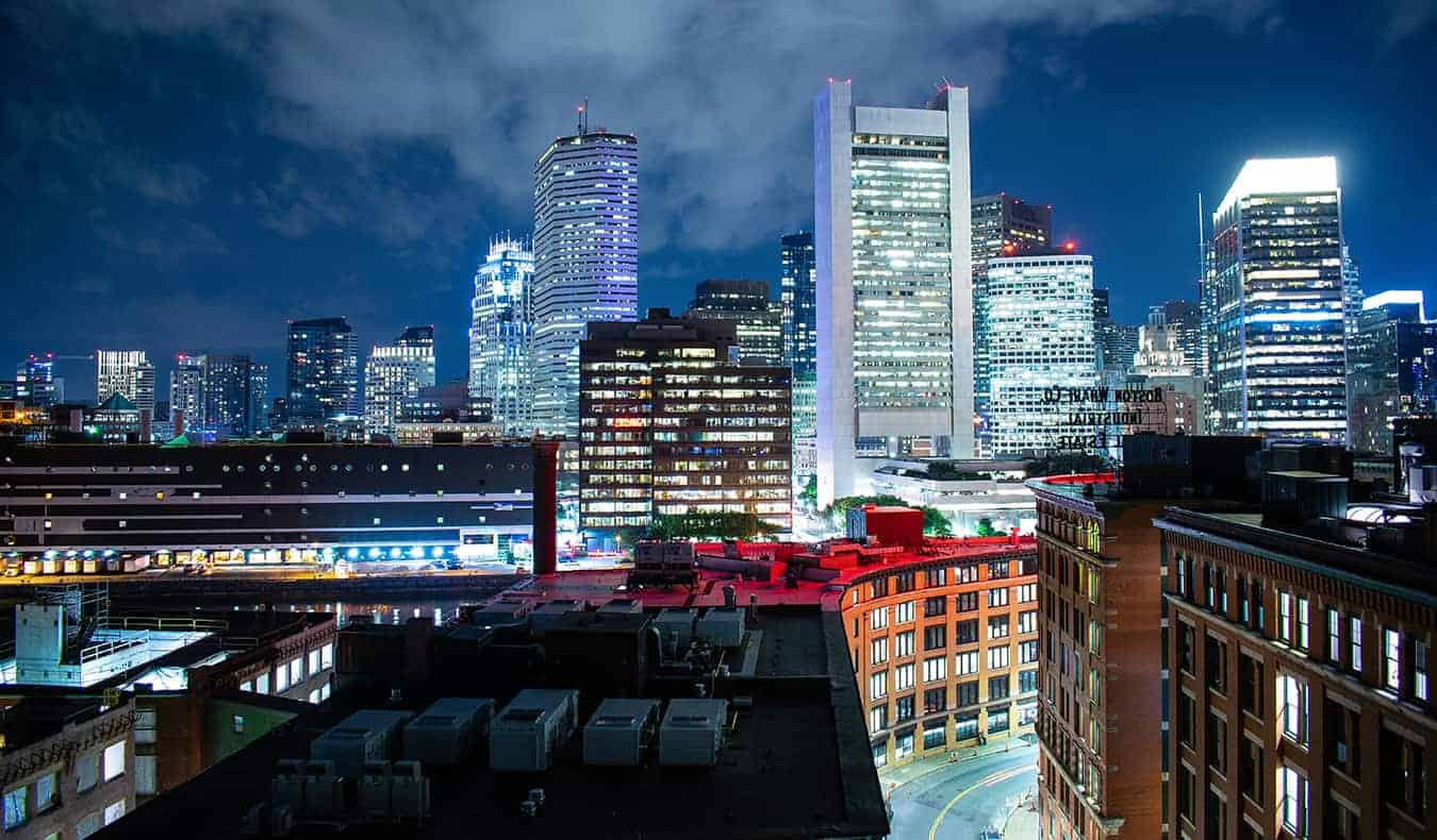 Boston all lit up at night