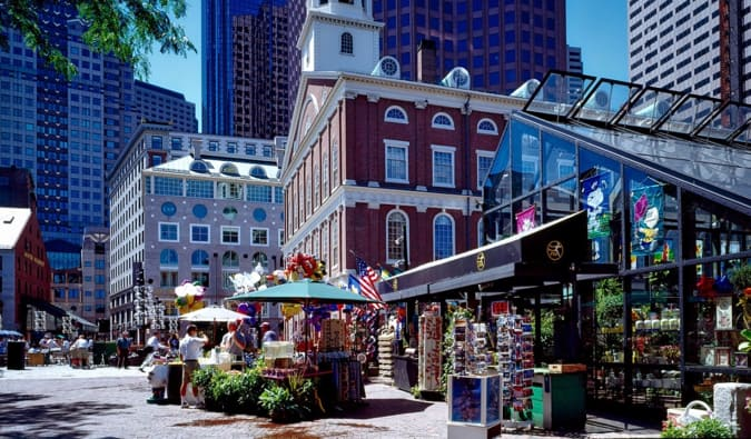 a sunny day in downtown boston during a walking tour of the city