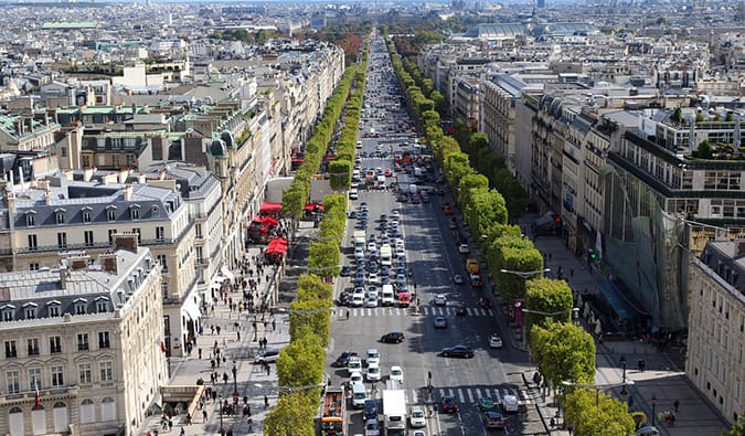 The view of Champs-Élysées, Paris from above on a summer day