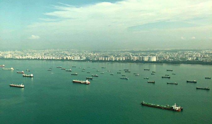 Cargo ships in the waters off Singapore