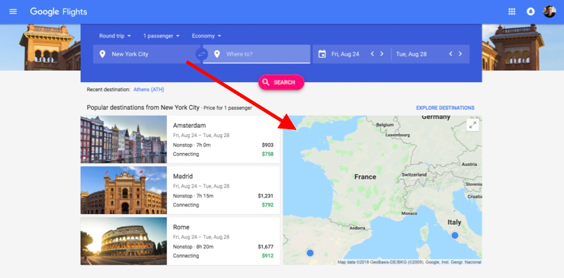 searching Google Flights for cheap airline tickets