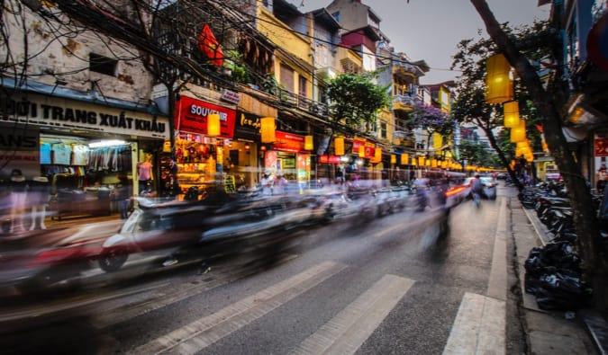 a busy street in Hanoi
