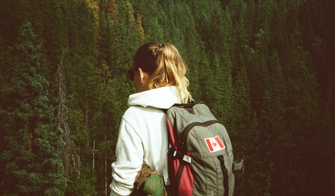 A travel backpack with a Canadian flag on it